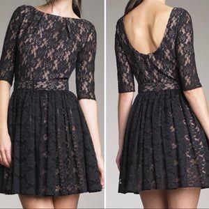 Rachel Zoe Black Lace Dress with Belt & Scoop Back
